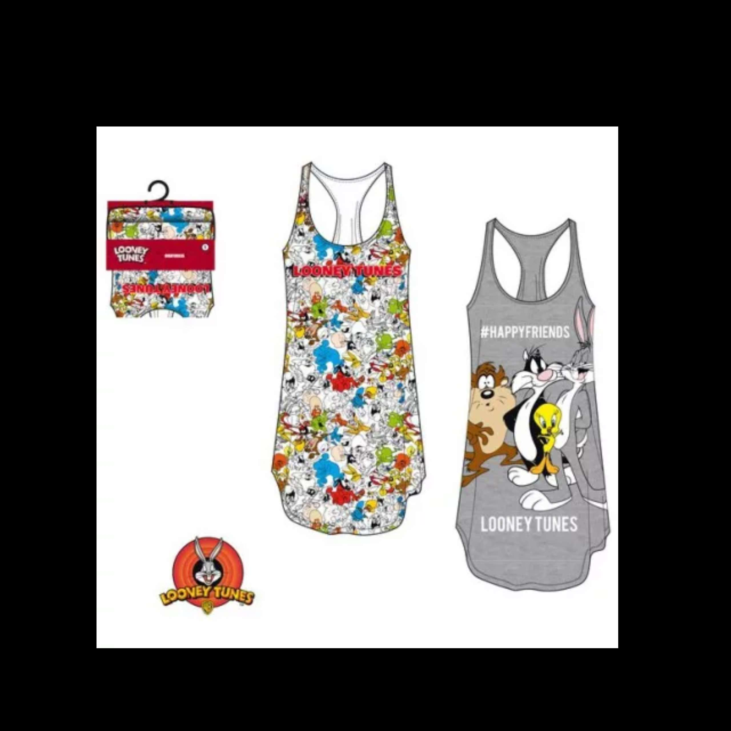 Looney Tunes Two Pack Night Time Vests Size Medium